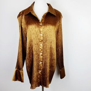 ALLISON TAYLOR Ribbed Button Up Blouse 2X